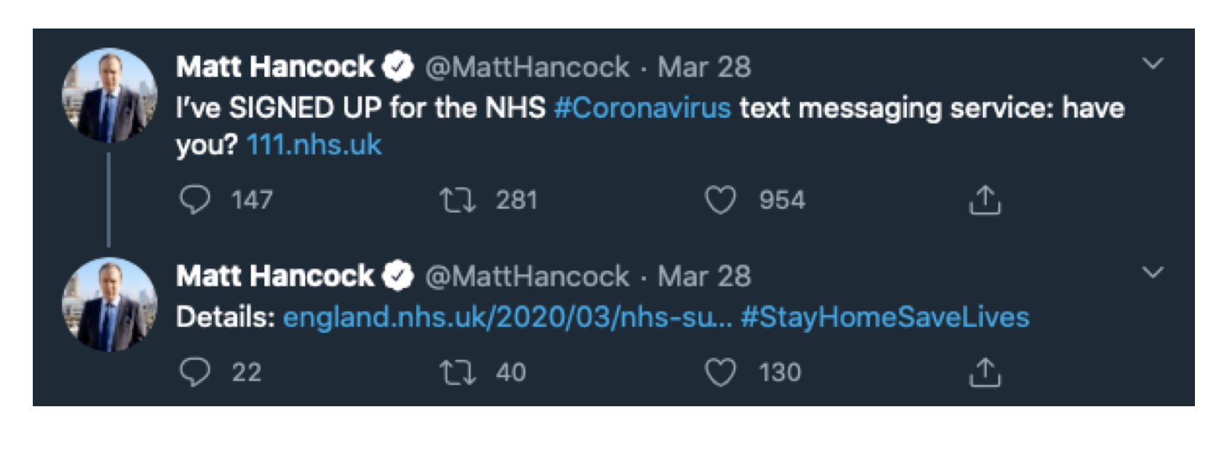 Tweet about NHS COIV-19 texting service