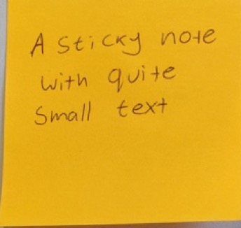 sticky note with small text
